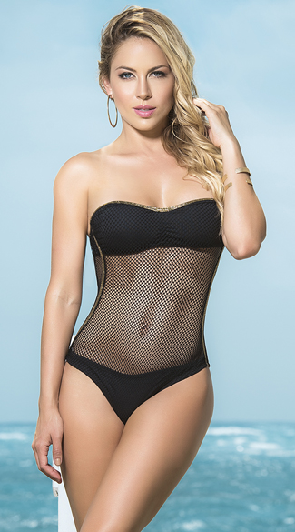 Strapless Mesh One Piece Swimsuit