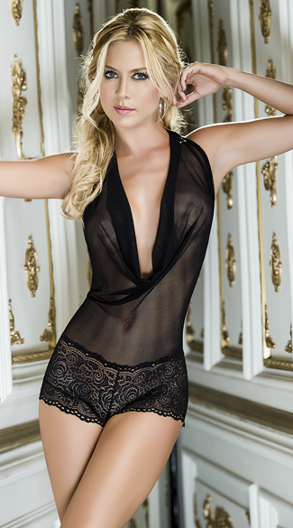 Romantic Mesh and Lace Romper, Mesh and Lace Romper, Low Cut Romper