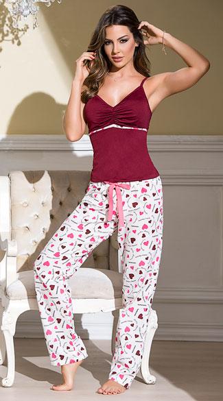 Burgundy Heart Printed Pajama Set Pink Pajama Set