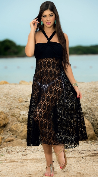 Convertible Black Lace Bandeau Dress to Skirt