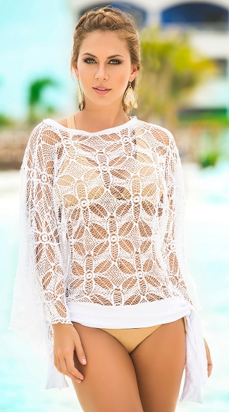 Flower Power Beach Cover-Up, Floral Lace Swimwear Cover-Ups, Sexy Beach Dresses