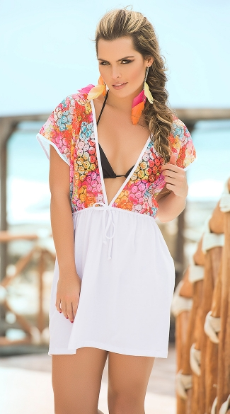 Flirty Brightly Colored Cover-Up, Lace Beach Cover-Ups, Colorful Beach Dresses