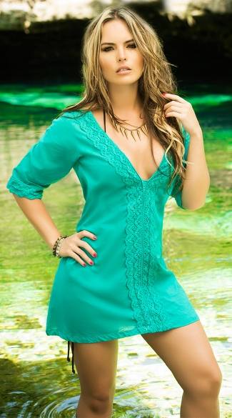 Lacy Three-Quarter Sleeve Boho Tunic
