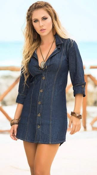 Sexy Button Down Denim Mini Dress