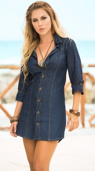 Sexy Button Down Denim Mini Dress, Collared Jean Dress, Roll Up Sleeve Denim Dress