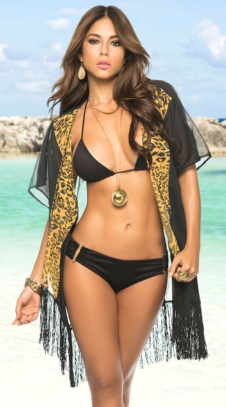 Wild Desire Kimono Cover-Up, Sexy Open Robe Swimwear Cover-Up, Animal Print Bikini Coverup