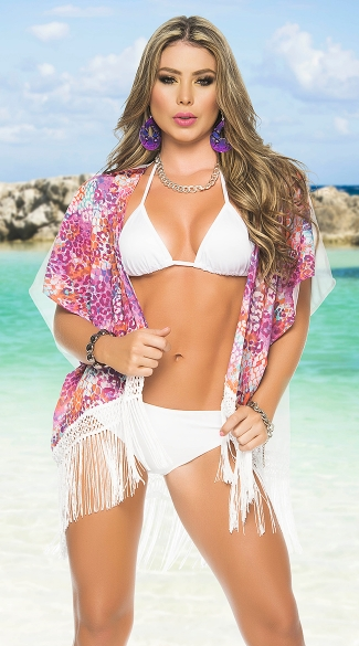 Two Tone Fringed Kimono Wrap, Sexy Beach Wrap, Swimsuit Cover