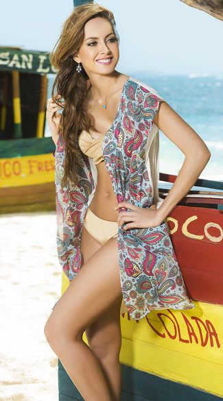 Paisley Dreams Kimono Cover Up, Sexy Beach Cover Up, Swimsuit Cover Up
