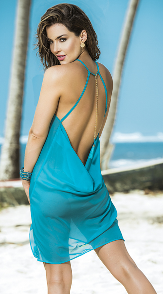Open Back Turquoise Beach Dress