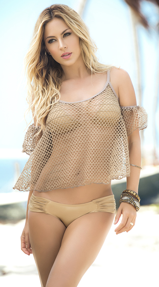 Mocha Fishnet Beach Top