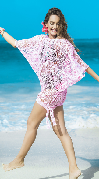 Draping Pink Crochet Cover-Up