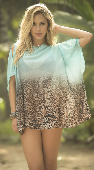 Ombre Leopard Cover-Up, Beach Dresses, Swimsuit Cover Up