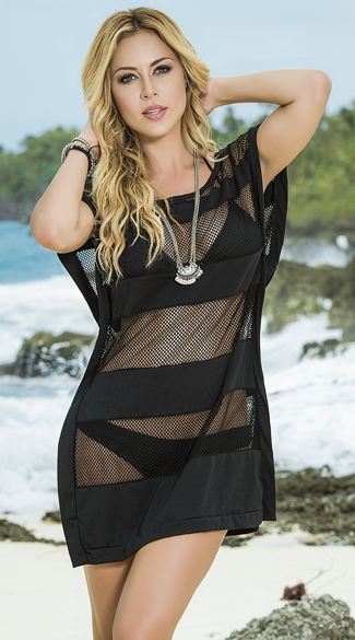Silky Mesh Beach Dress, Sheer Swimsuit Cover Up, Beach Cover Up