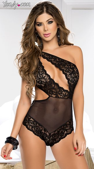 Lace and Mesh Assymetrical Teddy, Sexy Open Front Teddies, Black Lace Cutout Bodysuits