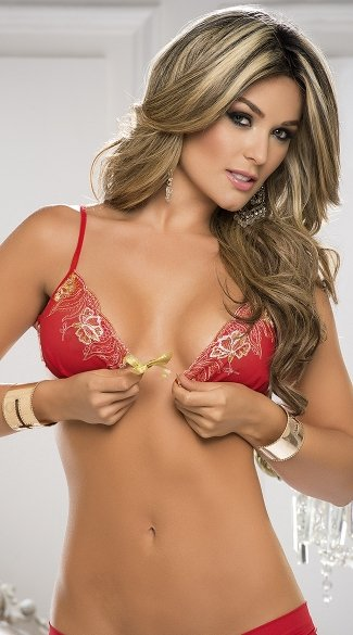 Gold Lace Trim Bra and Crotchless Panty