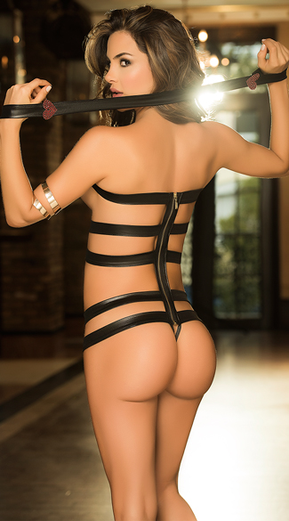 Strappy Black Leatherette Teddy
