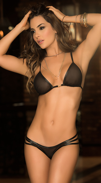 Leather and Lace Bra Set