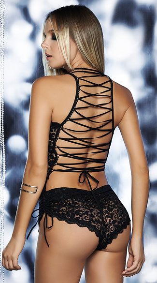 Open Back Lace-Up Teddy, Sheer Lace Teddy, Lace-Up Teddy