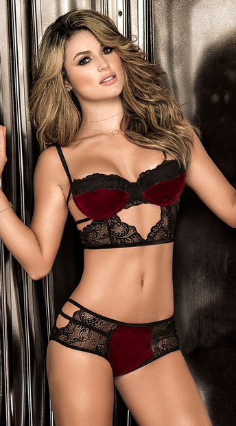 Be Mine Valentine Bra and Panty Set, plush bra and panty set - Yandy.com