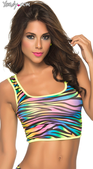Fantasy Girl Crop Top, Sexy Colorful Crop Tops, Rainbow Crop Tops