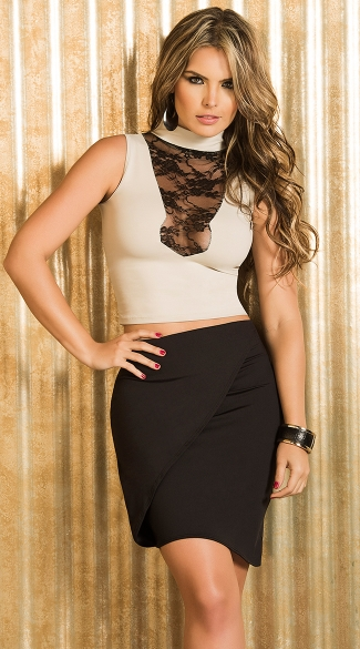 Mocha and Black Lace Collared Crop Top
