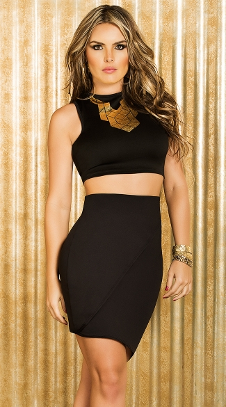 Geometric Print Gold and Black Crop Top