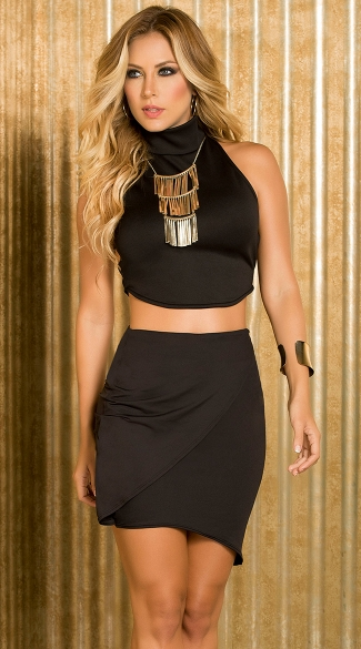 Black Strappy Top and Skirt Set, Open Back Halter Neck Crop Top, Sexy Black Club Top, Sexy Black Skirt, Trendy Bodycon Skirt