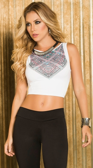 Sexy Tribal Babe Set, Geo Tribal Babe Crop Top, Sexy Tank Crop Shirt, Sexy Ankle Slits Leggings, Sexy Black Yoga Pants