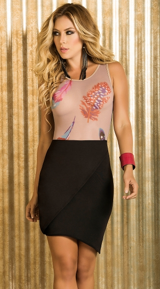 Feathered Goddess Clubwear Set, Sheer Feather Print Teddy, Colorful Feather Bodysuit, Sexy Black Skirt, Trendy Bodycon Skirt
