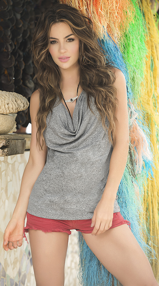 Cowl Neck Tank Top, Grey Tank Top, Sexy Shirts