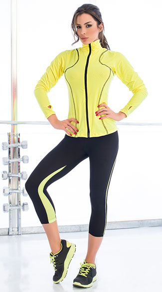 Black and Yellow Elite Gym Set, Two Tone Jersey Sports Jacket, Gym Jacket, Sports Jacket, Black and Yellow Gym Capris, Mesh Gym Pants, Black Gym Capris
