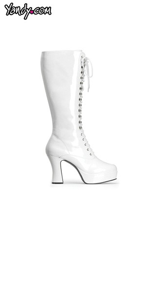 "4"" Heel White Platform Lace Up Boot, Sexy White Faux Leather Boot"