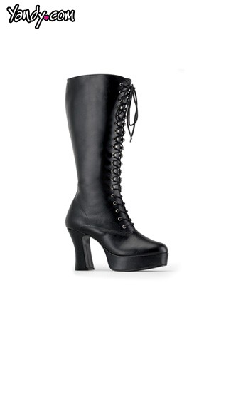"4"" Heel Black Platform Lace Up Boot"