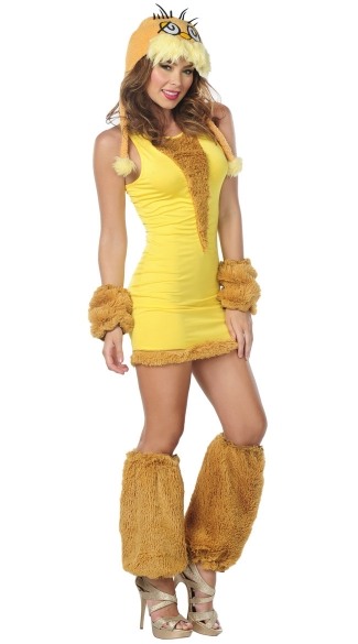Lorax Hood and Yellow Dress, Women\'s Adult Lorax Halloween Costume
