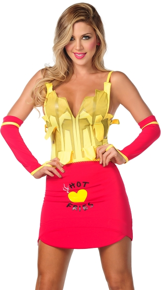 Sexy French Fries Costume, Hot Fries Costume, Sexy French Fry Costume, French Fry Halloween Costume