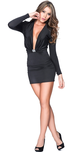 Cocktail Cutie Low Cut Dress, Black Long Sleeve Dress, Low Cut Front Mini Dress