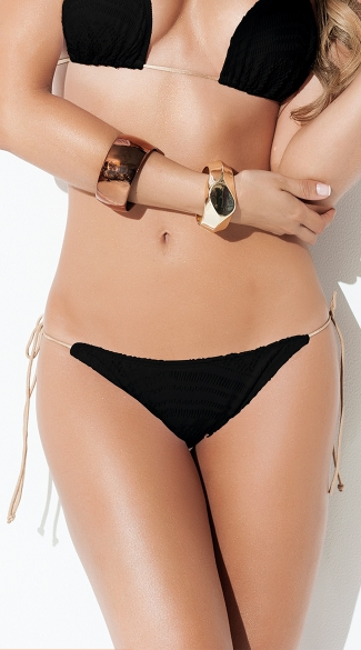 Exclusive Black String Bikini Bottom, Black Crochet Bikini Bottom