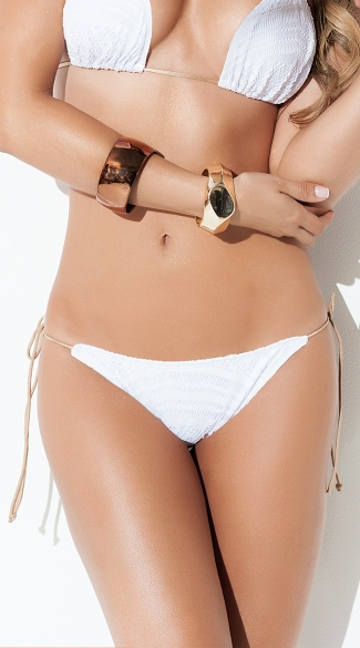 Exclusive White String Bikini Bottom, White Crochet Bikini Bottom