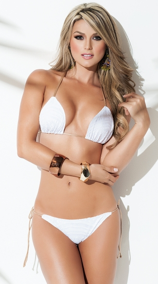 Exclusive White String Bikini Top