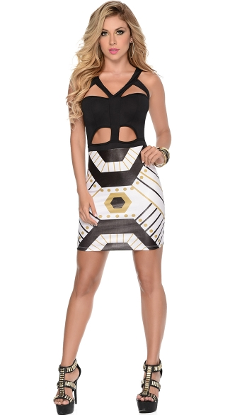 Strappy Bodycon Geometric Print Dress Cut Out Bodycon