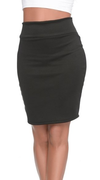 High Waist Black Bodycon Pencil Skirt, Form Fitting Black Skirt with Slit, High Rise Black Pencil Skirt