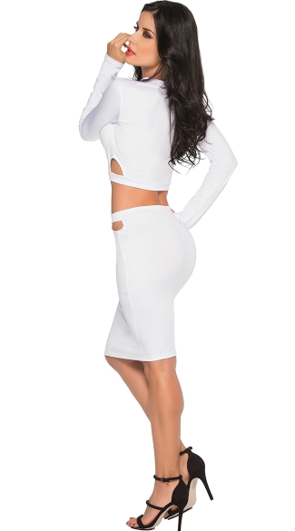 Peek-A-Boo Delight Long Sleeve Crop Top Set