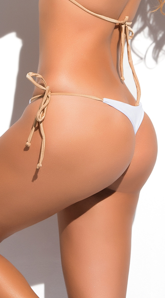 Metallic String Thong Bikini Bottom
