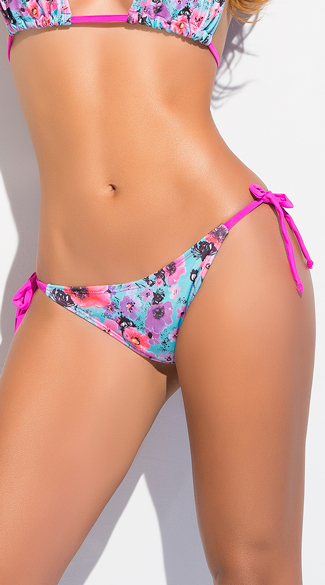 Floral Tie Side Thong Bikini Bottom, Floral Bikini Bottom, Floral Swimsuit Bottom