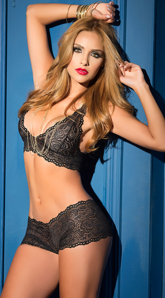 Black Lacy Bralette and Panty Set