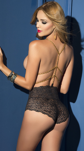 Black Lace Teddy with Gold Chains, Black Lace Teddy, Gold Chain Teddy