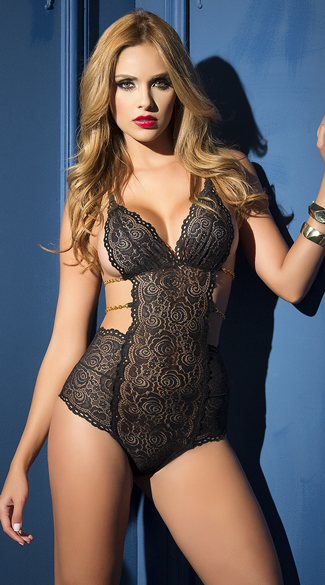 Black Lace Teddy with Gold Chains