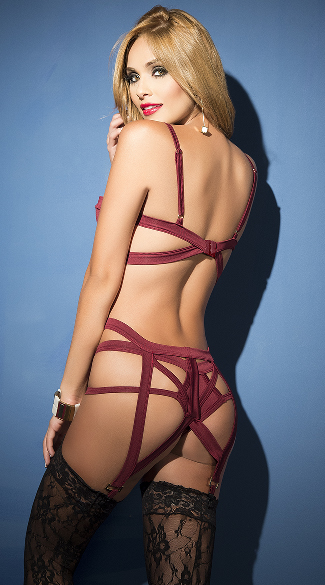 Burgundy Multi-Strapped Bra Set