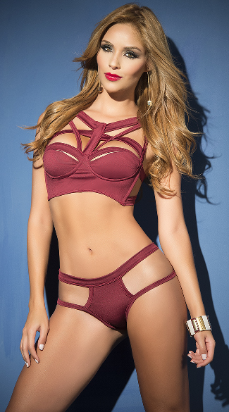 Burgundy Multi-Strapped Bra Set, Strappy Cage Set, Strappy Bra Set