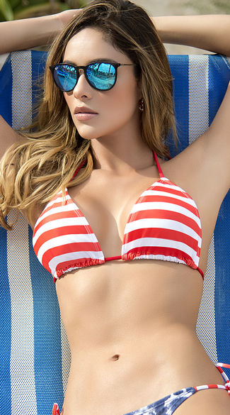 Sexy Yandy Striped String Bikini Top